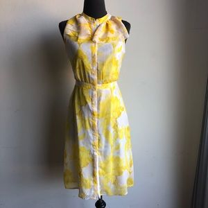 Banana Republic sz 0 yellow floral summer dress